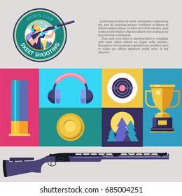 Shooting Skeet. Set of colored vector design elements. Vector illustration.