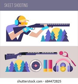 Shooting Skeet.  Set of design elements. Vector illustration