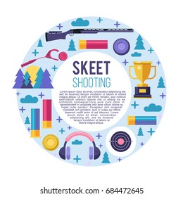 Shooting Skeet. Set of vector elements located in a circle. With place for text. The elements of design.