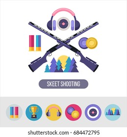 Shooting Skeet. Vector emblem. Set of design elements. Round icons.