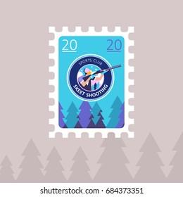 Shooting Skeet. Vector illustration of a postage stamp.