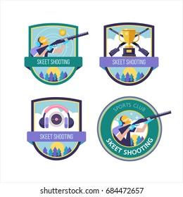 Shooting Skeet. Vector set of logos.