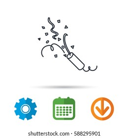 Shooting slapstick icon. Celebration sign. Calendar, cogwheel and download arrow signs. Colored flat web icons. Vector