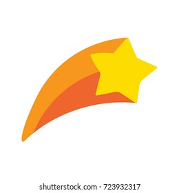 Shooting star, comet. Vector hand drawn illustration icon on white background.