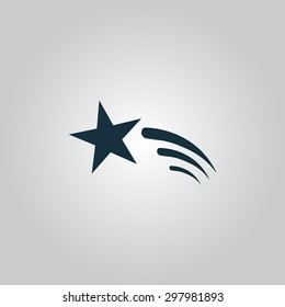 Shooting star. Flat web icon or sign isolated on grey background. Collection modern trend concept design style vector illustration symbol