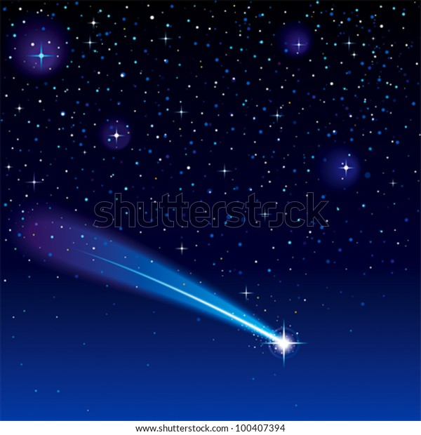 Shooting Star Going Across Starry Sky Stock Vector (Royalty