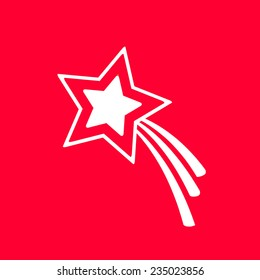 Shooting star on red background