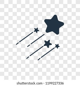 Shooting star vector icon isolated on transparent background, Shooting star transparency logo concept