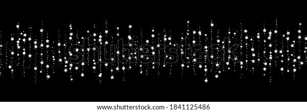 Shooting stars confetti. Black, white colors. Festive background. Abstract texture on a white background. Design element. Vector illustration, eps 10.