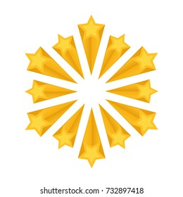 Shooting stars or fireworks, vector illustration. Stellar explosions, crumbling stars. The gold icon on white background.