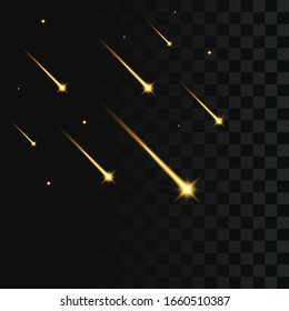 Shooting stars on transparent background. Falling gold star, meteorite or comet with glowing golden light. Vector illustration.