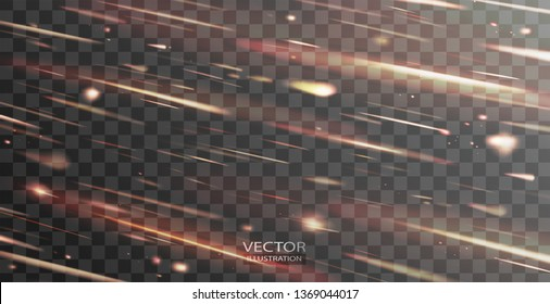 Shooting stars transparent vector background, light of falling of a meteorite in the galaxy. Asteroid, comet and meteor vector illustration of universe, cosmos, space for promo, ads, flyer, web design