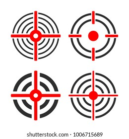 Shooting target circles vector set illustrations isolated on white background