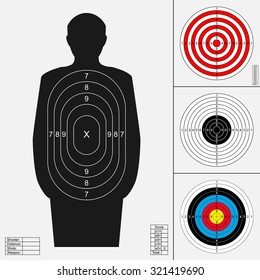 Shooting target set. Silhouette of human, archery target, darts board, range target for firearm, bow or crossbow.Templates for print. Vector illustration isolated on white background.