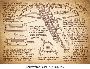 Shooting weapon designed by Leonardo da Vinci. Leonardo da Vinci drawings. Da Vinci crossbow invention. Vintage paper background with drawings.