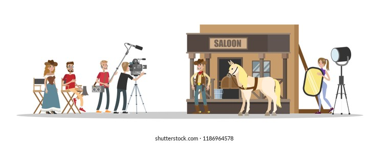 Shooting western movie using camera, lights, microphones and other equipment. Making film concept. Scene with brave cowboy at the saloon. Vector flat illustration