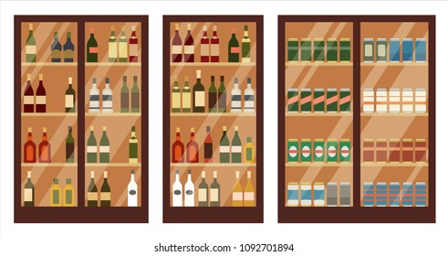 Shop of alcohol. Shelves. Vector illustration