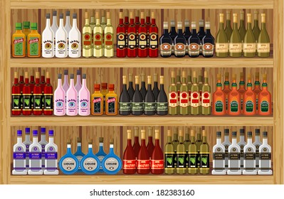 Shop alcoholic beverages. vector