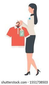 Shop assistant stand with shirt in hands. Polo sold with discount and woman offer good deal to people at store. Vector illustration in flat style
