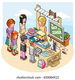 Shop assistant at stationary stand selling books, bags, pens, memo pads and other stationary items to kids, stand decorated with chalkboard with back to school lettering (isometric illustration)