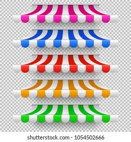 Shop awning tents for window. Outdoor market canopy, vintage store roof isolated vector set. Illustration of tent sunshade, colored striped roof for cafe or store front