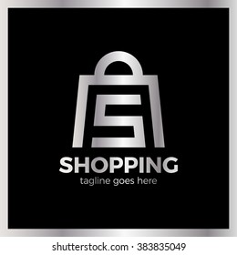 Shop Bag Logo - Letter S. Shopping online. Luxury, royal metal silver