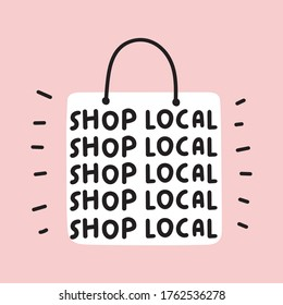 Shop bag with phrases - shop local.  Flat vector illustration on pink background.