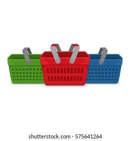 Shop Basket Supermarket Flat Vector Illustration
