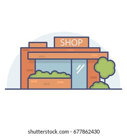 Shop the building in the city. Show-window and facade of a minimarket.Commercial public building on street.Linear flat style a vector.Street shop.Booth for trade