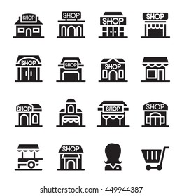 Shop building icon