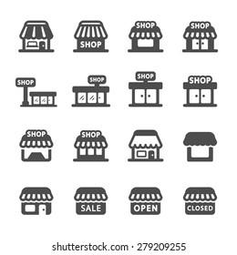 shop building icon set, vector eps10.