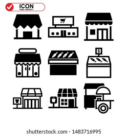 Shop building icon, Street retail, wheel market. Trade cart. Food kiosk and trolley. Collection of high quality black style vector icons