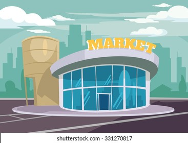 Shop building. Vector flat illustration
