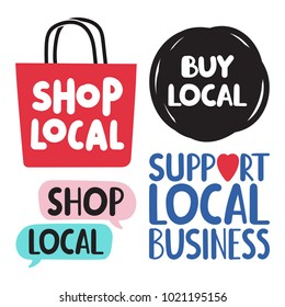 Shop, buy local. Support local business. Set of hand drawn doodles badges, icons. Flat vector illustrations on white background.
