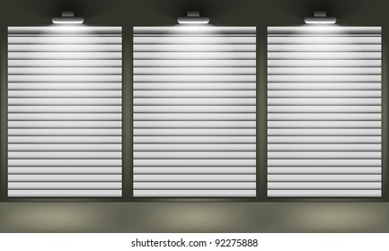 Shop with closed shutters windows, front view. Part of set. Vector exterior.