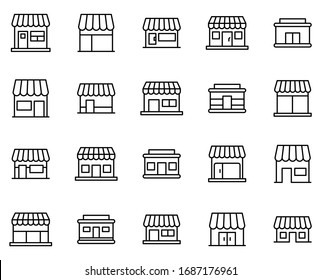 Shop design icons set. Thin line vector icons for mobile concepts and web apps. Premium quality icons in trendy flat style. Collection of high-quality black outline logo