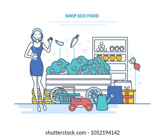 Shop eco food. Showcase, shop window with organic pure natural products from the farm. Sale, purchase, goods of agriculture and gardening, in the supermarket. Illustration thin line design.