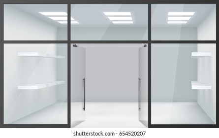 Shop Empty Interior Front Store 3d Realistic Windows Space Open Doors Shelves Template Mockup Background Vector Illustration