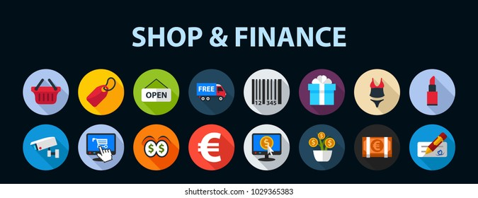 Shop and finance flat icon concept. Vector illustration. Element template for design.