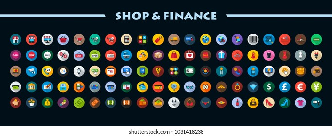 Shop and finance flat icons set. Vector illustration.
