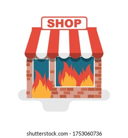 Shop in a fire. Burning store. Flame in store. Protesters concept. Broken windows and facades of store buildings. Vandalism in central streets. Vector flat design. Isolated on white background.