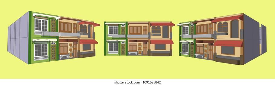 Shop Flat House Perspective, Vector & Illustration