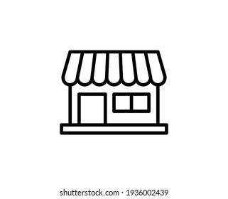 Shop flat icon. Thin line signs for design logo, visit card, etc. Single high-quality outline symbol for web design or mobile app. Shop outline pictogram.
