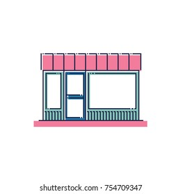 Shop lot flat linear icon. Vector illustration of a colorful market store. Business shopping and ecommerce facade symbol. Retro vintage color line style storefront.