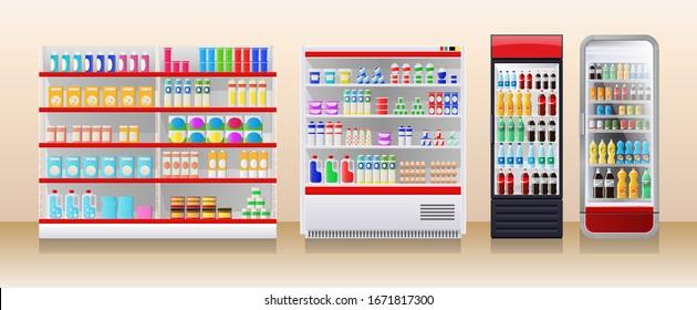 Shop fridges, refrigeration showcase with colorful product packs, soda, lemonade bottles, dairy, vector illustration