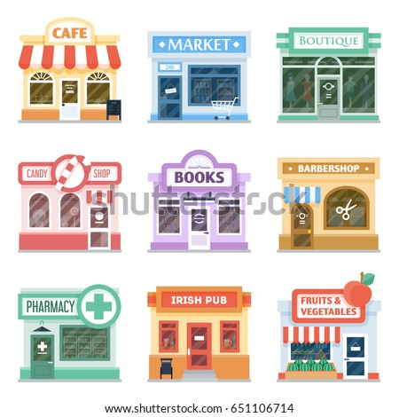 Shop Front Design Ideas Collection Retail Stock Vector (Royalty Free ...