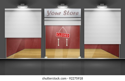 Shop with glass windows and doors, front view. Part of set. Vector exterior.
