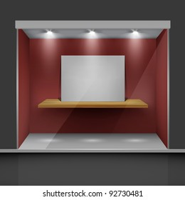 Shop with glass windows and open doors, front view. Part of set.  Vector exterior.