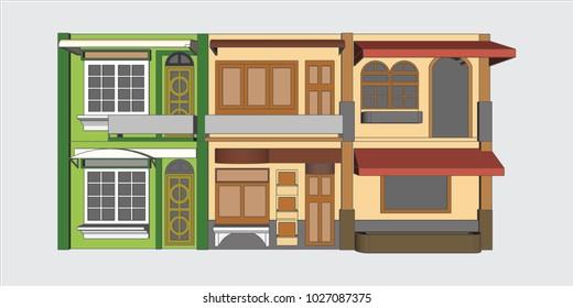 Shop house Building, Vector & Illustration