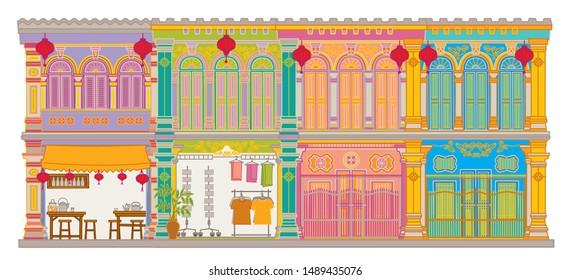 Shop house. Facade building vector